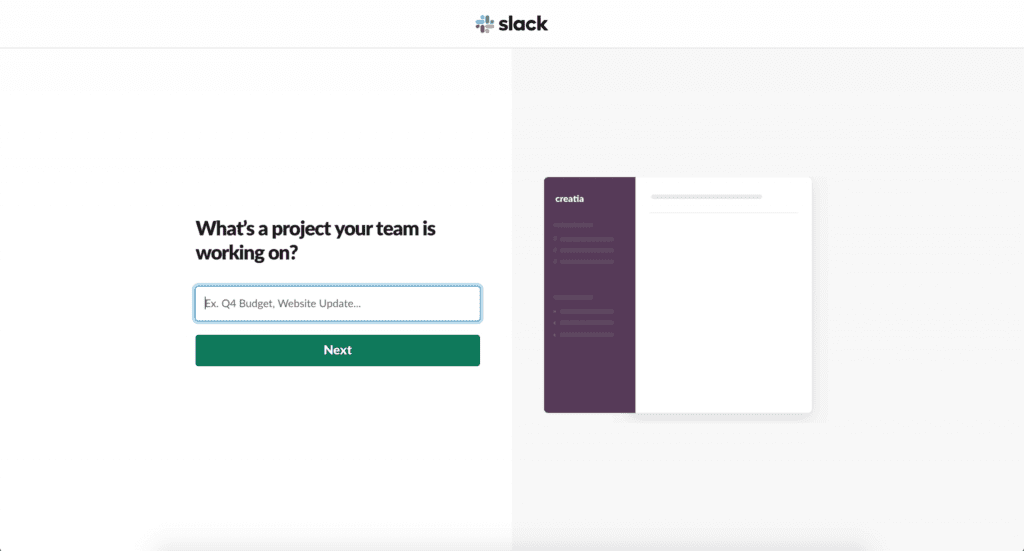 Project your team is working on in slack
