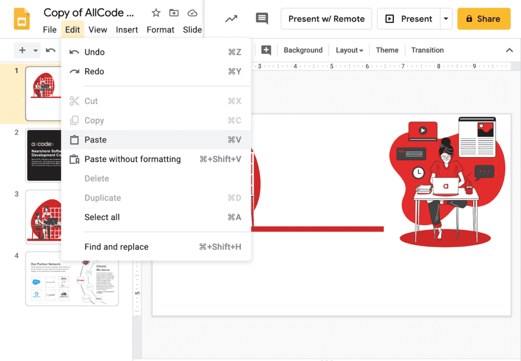 Copy and paste images in google slides to export