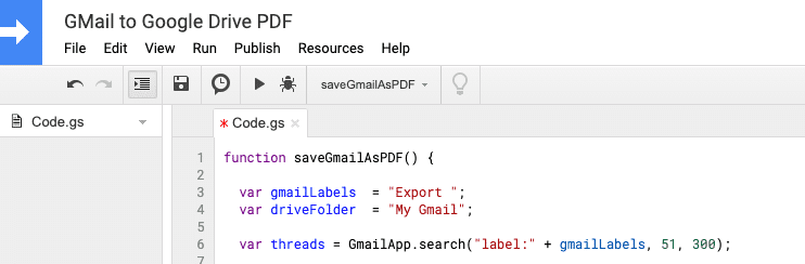 Execute Google App Script Project to save Gmails to Google Drive as PDF