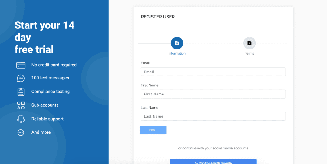 Sign up text reminders